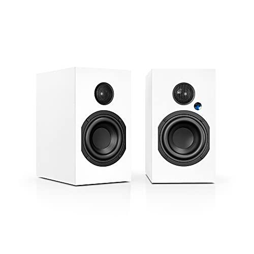 Nubert nuBox A-125 | weißes Regallautsprecherpaar mit HDMI ARC | Lautsprecher-Set mit Bluetooth aptX | Schreibtischlautsprecher für Homeoffice| aktive Regalboxen in 2 Wege Technik | 2 Stück