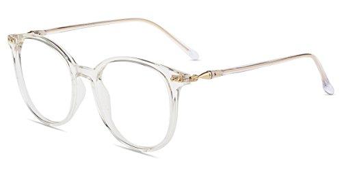 Firmoo Blaulichtfilter Brille für Damen Herren ohne Sehstärke Anti Blaulicht UV Schutzbrille TR Vollrandbrille gegen Augenbelastung Entspiegelte Nerdbrille (Transparent)