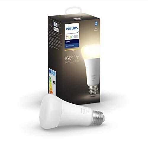 Philips Hue White E27 LED Einzelpack, hoher Lichtouput (1600lm), warmweißes Licht, dimmbar, steuerbar via App, kompatibel mit Amazon Alexa (Echo, Echo Dot)