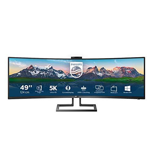 Philips 499P9H - 49 Zoll DQHD Curved USB-C Docking Monitor, Webcam, höhenverstellbar, HDR400 (5120x1440, 70 Hz, HDMI 2.0, DisplayPort, USB-C, RJ45, USB Hub) schwarz