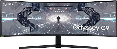 Samsung Odyssey G9 (C49G93TSSU) 124 cm (49 Zoll) 240Hz Gaming Monitor (5.120 x 1.440 Pixel, 1ms, QLED, DQHD, 1000R, Dual Monitor, HDR, G-Sync kompatibel, ultra wide) weiß - Amazon Exclusive