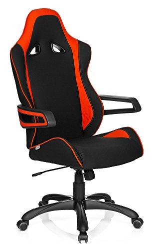hjh OFFICE 621841 Gaming Stuhl GAME PRO II Stoff Schwarz/Rot Chefsessel mit Armlehnen