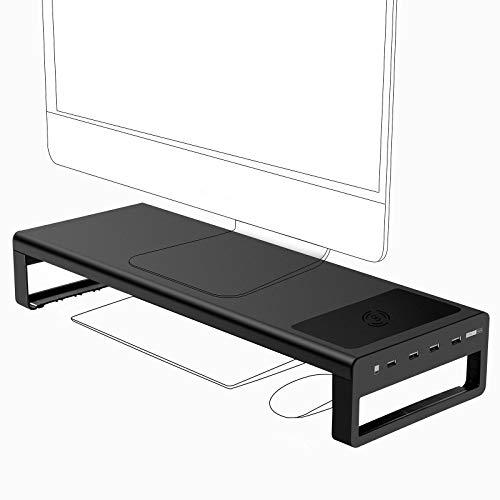 Vaydeer USB 3.0 Monitorständer mit kabelloser Aufladung Aluminium Monitor Stand Riser Unterstützt Datenübertragung, Metall Monitor Ständer -Unterstützt bis zu 32 Zoll für Computer, Laptop - Schwarz