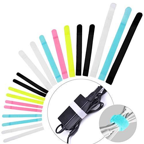 Avantree 50 Stück Spezielles Design Klettverschluss Kabelbinder, Wiederverwendbar Klettbänder, 3 verschiedene Größen, um die Kabel organisiert und ordentlich zu halten