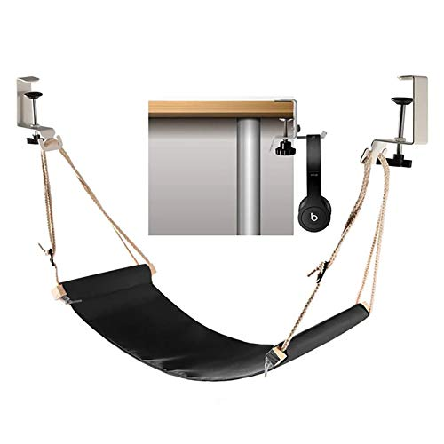 Abree Fuß Hängematte Verstellbar Praktische Fußhängematte Schreibtisch Fußstütze Mit Kopfhörerhaken Zur Entspannung im Büro