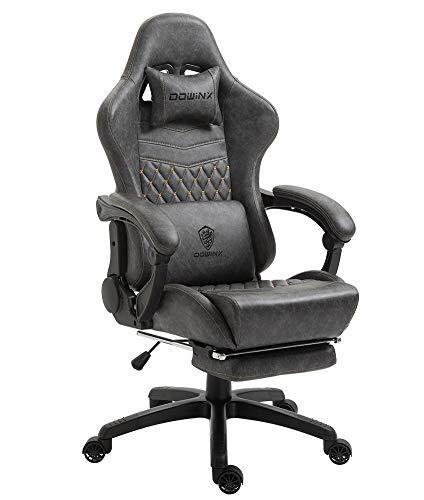 Dowinx Gaming Stuhl Bürostuhl Ergonomischer PC-Stuhl mit Massage Lendenwirbelstütze, Vorteil Stil PU Leder Hohe Rückenlehne Verstellbarer Drehsessel mit Fußstütze (Grau)