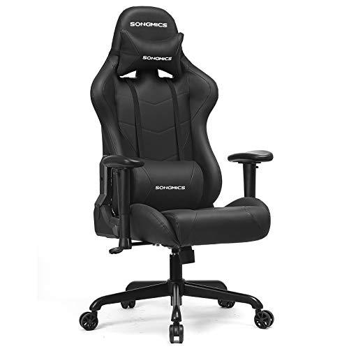 SONGMICS Gaming Stuhl, Bürostuhl, bis 150 kg belastbar, Schreibtischstuhl mit Lendenkissen, hoher Rückenlehne, breiter Sitzfläche, höhenverstellbar, ergonomisch, Kunstleder, schwarz RCG42BK
